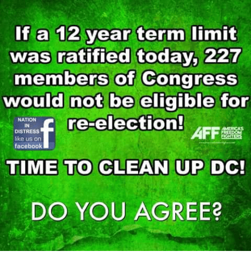 Facebook, Memes, and Time: If a 12 year term limit  was ratified today, 227  members of Congress  would not be eligible for  re-election!  NATION  DISTRESS  like us on  facebook  AFF  TIME TO CLEAN UP DC!  DO YOU AGREE?