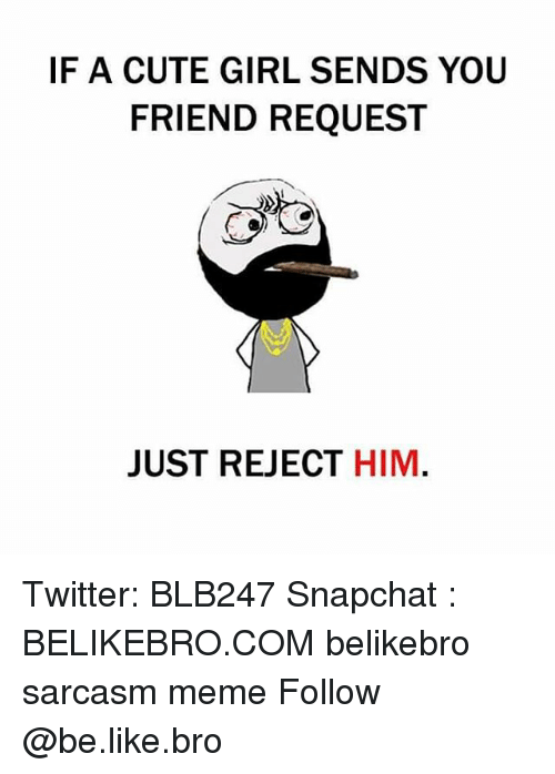 Be Like, Cute, and Meme: IF A CUTE GIRL SENDS YOU  FRIEND REQUESI  JUST REJECT HIM Twitter: BLB247 Snapchat : BELIKEBRO.COM belikebro sarcasm meme Follow @be.like.bro