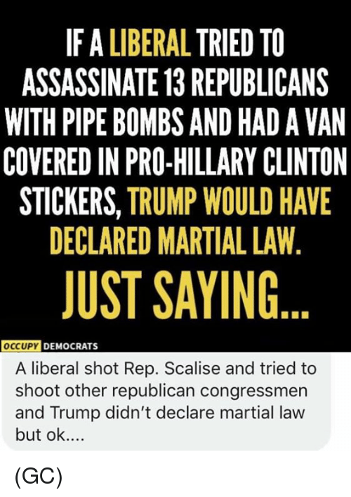Martial: IF A LIBERAL TRIED TO  ASSASSINATE 13 REPUBLICANS  WITH PIPE BOMBS AND HAD A VAN  COVERED IN PRO-HILLARY CLINTON  STICKERS, TRUMP WOULD HAVE  DECLARED MARTIAL LAW,  JUST SAYING  OccUPY  DEMOCRATS  A liberal shot Rep. Scalise and tried to  shoot other republican congressmen  and Trump didn't declare martial law  but ok.... (GC)