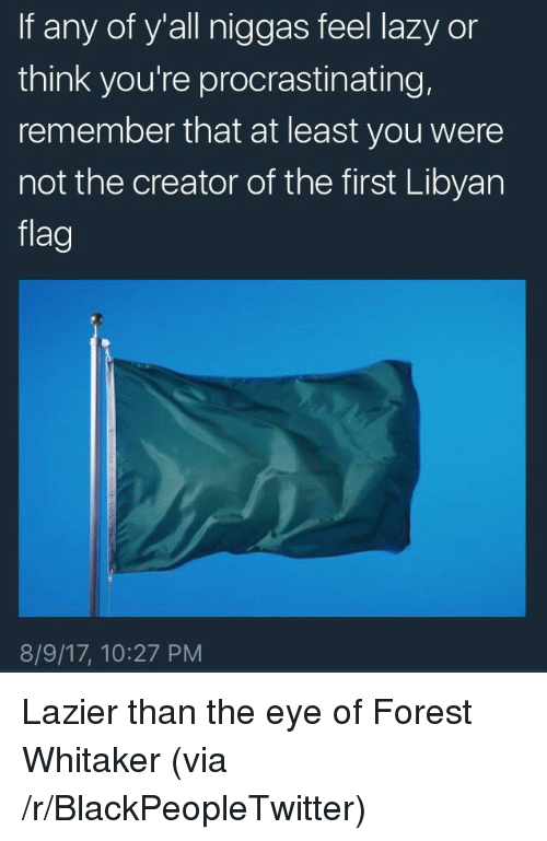 Forest Whitaker: If any of y'all niggas feel lazy or  think you're procrastinating,  remember that at least you were  not the creator of the first Libyan  flag  8/9/17, 10:27 PM <p>Lazier than the eye of Forest Whitaker (via /r/BlackPeopleTwitter)</p>
