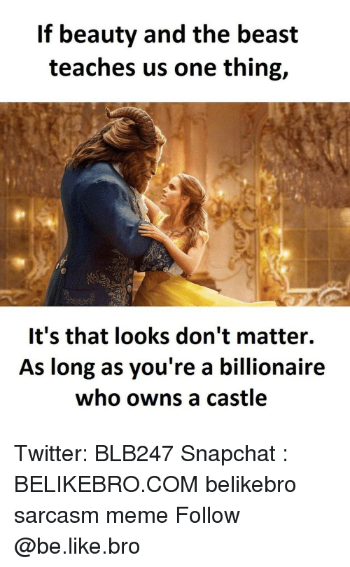 Memes, Beauty and the Beast, and Sarcasm: If beauty and the beast  teaches us one thing,  It's that looks don't matter.  As long as you're a billionaire  who owns a castle Twitter: BLB247 Snapchat : BELIKEBRO.COM belikebro sarcasm meme Follow @be.like.bro