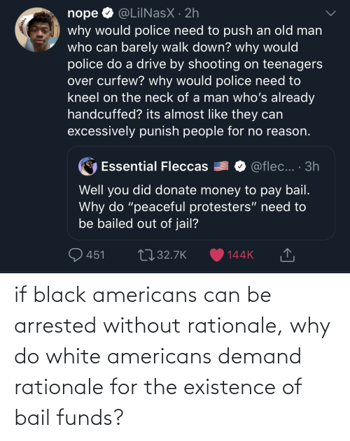 For The: if black americans can be arrested without rationale, why do white americans demand rationale for the existence of bail funds?