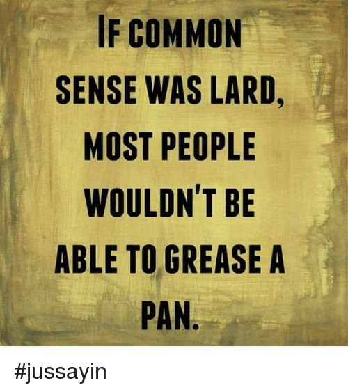 Dank, Common, and Grease: IF COMMON  SENSE WAS LARD  MOST PEOPLE  WOULDN'T BE  ABLE TO GREASE A  PAN #jussayin