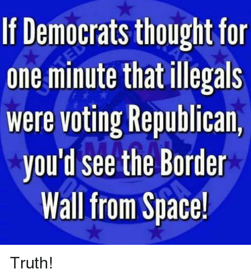 Memes, Space, and Thought: If Democrats thought for  one minute that illegals  Were voting Republican,  you'd see the Border  Wall from Space! Truth!