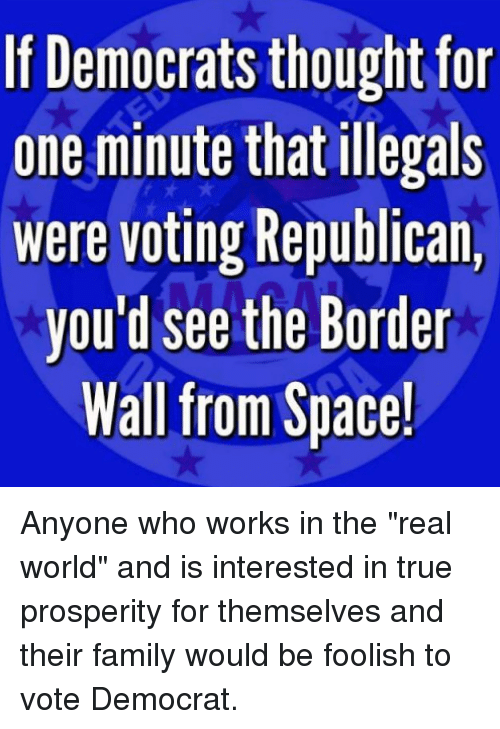"Voting Republican: If Democrats thought for  one minute that illegals  were voting Republican,  you'd see the Border  Wall from Space! Anyone who works in the ""real world"" and is interested in true prosperity for themselves and their family would be foolish to vote Democrat."