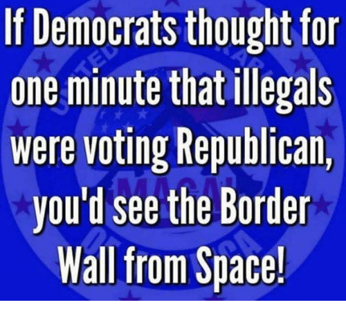 Voting Republican: If Democrats thought for  one minute that illegals  were voting Republican,  you'd see the Border  Wall from Space!