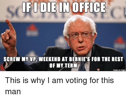 Bernie Sanders, Imgur, and Office: IF DIE IN OFFICE  SCREW MY VP. WEEKEND AT BERNIE'S FOR THE REST  OF MY TERM  made on imgur This is why I am voting for this man