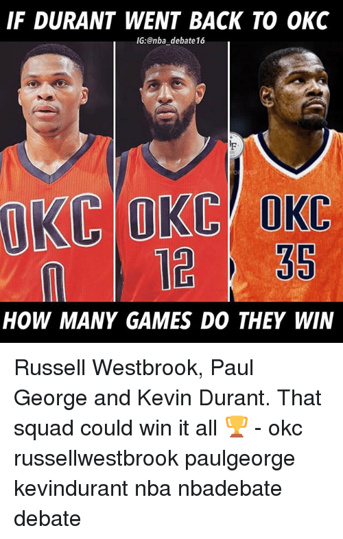 Kevin Durant, Memes, and Nba: IF DURANT WENT BACK TO OKC  IG:@nba debate16  n1235  HOW MANY GAMES DO THEY WIN Russell Westbrook, Paul George and Kevin Durant. That squad could win it all 🏆 - okc russellwestbrook paulgeorge kevindurant nba nbadebate debate