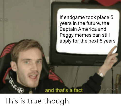 And Peggy: If endgame took place 5  years in the future, the  Captain America and  Peggy memes can still  apply for the next 5 years  and that's a fact  u/coderDude69 This is true though