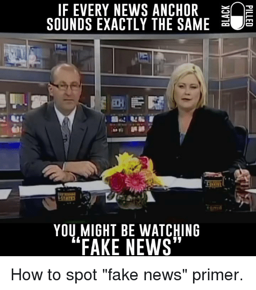 "Memes, 🤖, and Primer: IF EVERY NEWS ANCHOR  SOUNDS EXACTLY THE SAME  YOU MIGHT BE WATCHING  FAKE NEWS"" How to spot ""fake news"" primer."