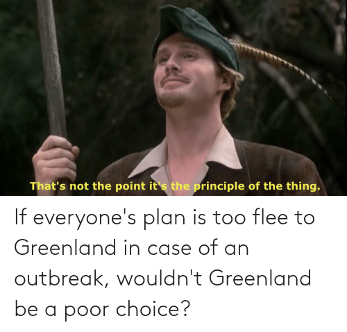 flee: If everyone's plan is too flee to Greenland in case of an outbreak, wouldn't Greenland be a poor choice?