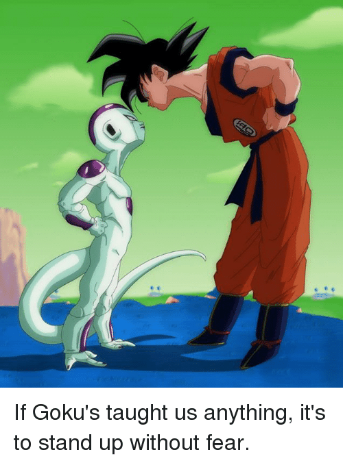 gokus: If Goku's taught us anything, it's to stand up without fear.
