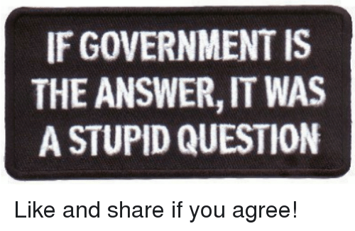 stupid questions: IF GOVERNMENT IS  THE ANSWER, IT WAS  A STUPID QUESTION Like and share if you agree!