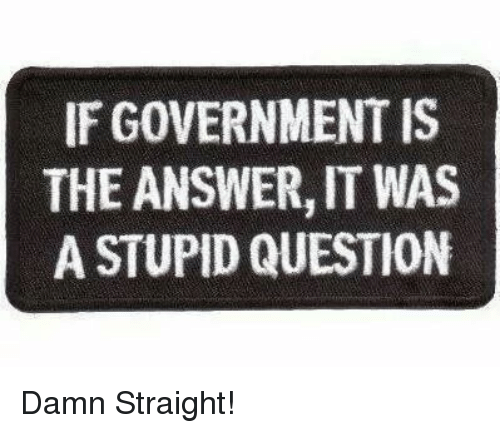 stupid questions: IF GOVERNMENT IS  THE ANSWER,IT WAS  A STUPID QUESTION Damn Straight!