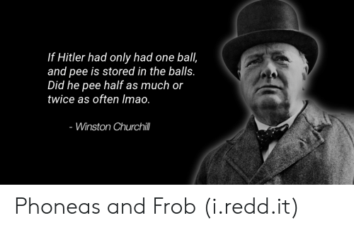 Winston Churchill: If Hitler had only had one ball,  and pee is stored in the balls.  Did he pee half as much or  twice as often Imao.  - Winston Churchill Phoneas and Frob (i.redd.it)