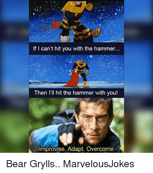 Memes, Bear, and Bear Grylls: If I can't hit you with the hammer...  Then l'll hit the hammer with you!  Improvise. Adapt. Overcome Bear Grylls.. MarvelousJokes
