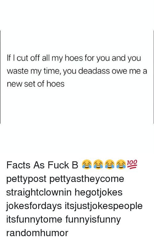 Facts, Hoes, and Memes: If I cut off all my hoes for you and you  waste my time, you deadass owe me a  new set of hoes Facts As Fuck B 😂😂😂😂💯 pettypost pettyastheycome straightclownin hegotjokes jokesfordays itsjustjokespeople itsfunnytome funnyisfunny randomhumor