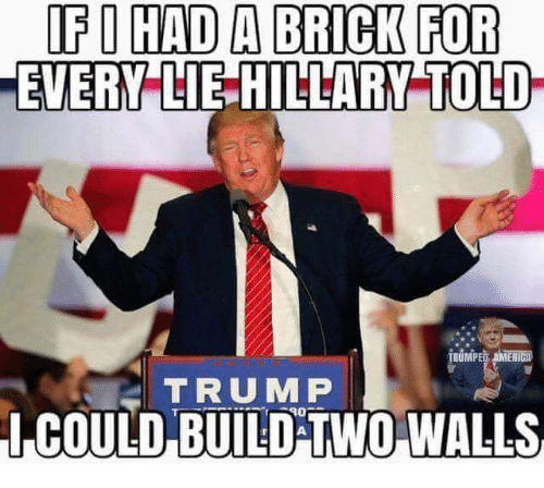 Memes, Trump, and 🤖: IF I HAD A BRICK FOR  EVERY LIE HILLARY-TOLD  BUMPED AMENICA  TRUMP  ICOULD BUILD TWO WALLS