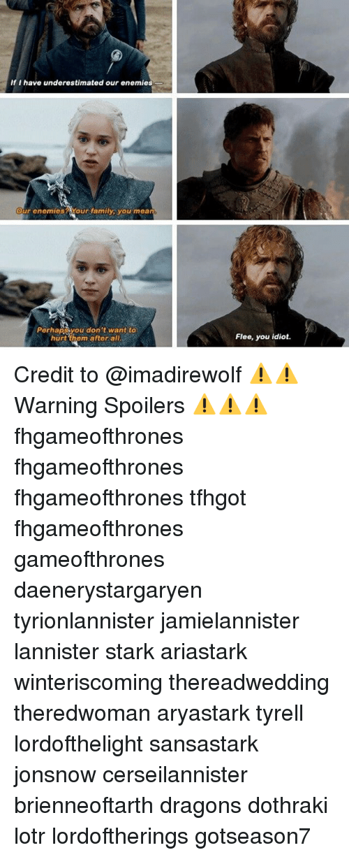 Family, Memes, and Dothraki: If I have underestimated our enemies  our enemies Your family you mea  Perhapyou don't want to  hurt them after all  Flee, you idiot. Credit to @imadirewolf ⚠️⚠️Warning Spoilers ⚠️⚠️⚠️ fhgameofthrones fhgameofthrones fhgameofthrones tfhgot fhgameofthrones gameofthrones daenerystargaryen tyrionlannister jamielannister lannister stark ariastark winteriscoming thereadwedding theredwoman aryastark tyrell lordofthelight sansastark jonsnow cerseilannister brienneoftarth dragons dothraki lotr lordoftherings gotseason7