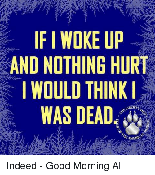 Memes, Good Morning, and Good: IF I WOKE UP  AND NOTHING HURT  WOULD THINK  WAS DEAD Indeed - Good Morning All