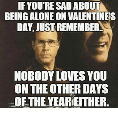 Memes, 🤖, and Nobody Love: IF IF YOURE SAD ABOUT  BEING ALONE ON VALENTINES  DAY, JUST REMEMBER  NOBODY LOVES YOU  ON THE OTHER DAYS  OFTHE YEARIE THER.