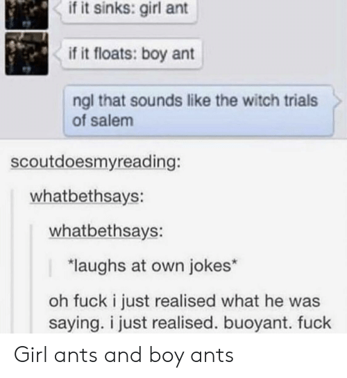 salem: if it sinks: girl ant  if it floats: boy ant  ngl that sounds like the witch trials  of salem  scoutdoesmyreading:  whatbethsays:  whatbethsays:  laughs at own jokes*  oh fuck i just realised what he was  saying. i just realised. buoyant. fuck Girl ants and boy ants
