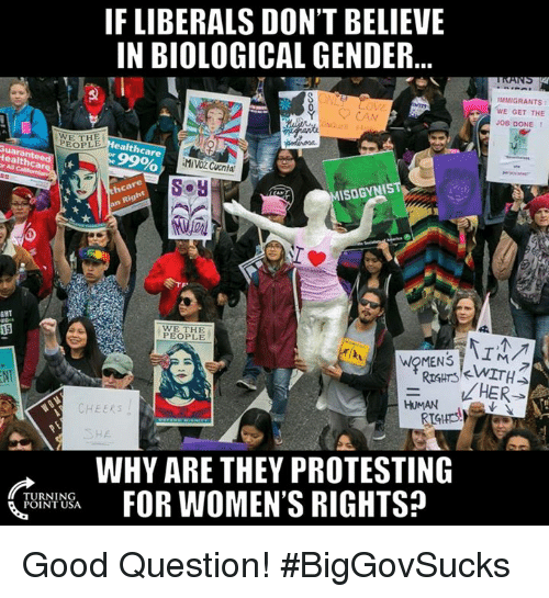 Rims: IF LIBERALS DON'T BELIEVE  IN BIOLOGICAL GENDER  MMIGRANTs  WE GET THE  JOB DONE  WE PEOPLE  ealth  Care  Healthcare  ISOGYNIS  WE THE  RIM  WRMENS  LHER  HUMAN  CHEERS  WHY ARE THEY PROTESTING  FOR WOMEN'S RIGHTS?  TURNING  POINT USA Good Question! #BigGovSucks