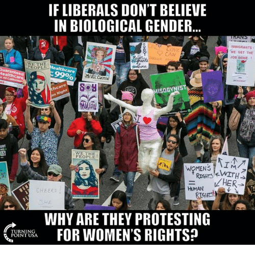 Rigness: IF LIBERALS DON'T BELIEVE  IN BIOLOGICAL GENDER  PEOPLE  ealth care  99%  Health car  Soy  ISOGYNIS  Rig  GHT  WE PEOPLE  RIGHTS  HUMAN  CHEERS  WHY ARE THEY PROTESTING  FOR WOMEN'S RIGHTSP  TURNING  POINT USA  IMMIGRANTS  WE GET THE  JOB DONE  HER