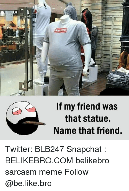 Be Like, Meme, and Memes: If my friend was  that statue.  Name that friend. Twitter: BLB247 Snapchat : BELIKEBRO.COM belikebro sarcasm meme Follow @be.like.bro