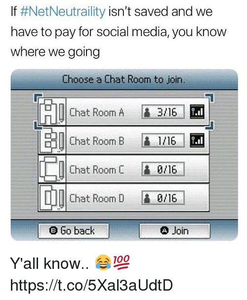 Social Media, Chat, and Back: If #NetNeutrality isn't saved and we  have to pay for social media, you know  where we going  Choose a Chat Room to join.  Chat Room A  3/16-1 EM  串1|Chat Room B  L1/16/  0/16/  0/16  4 Join  Chat Room C  Chat Room D  e Go back Y'all know.. 😂💯 https://t.co/5Xal3aUdtD