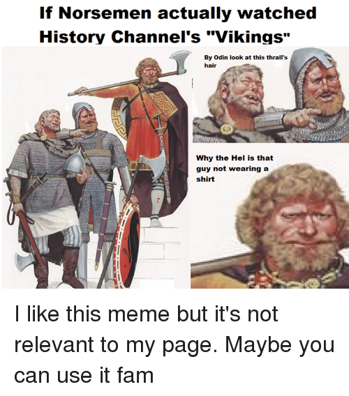"""Fam, Meme, and Memes: If Norsemen actually watched  History Channel's """"Vikings""""  By odin look at this thrall's  hair  Why the Hel is that  guy not wearing a  shirt I like this meme but it's not relevant to my page. Maybe you can use it fam"""