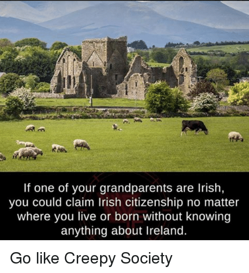 Irish, Memes, and Ireland: If one of your grandparents are Irish,  you could claim lrish citizenship no matter  where you live or born without knowing  anything about Ireland. Go like Creepy Society