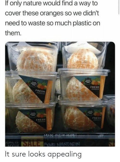 oranges: If only nature would find a way to  cover these oranges so we didn't  need to waste so much plastic on  them.  FRESH  FRESH  FRESH  FRESH It sure looks appealing