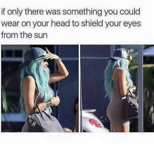 Head, Memes, and 🤖: if only there was something you could  wear on your head to shield your eyes  from the sun