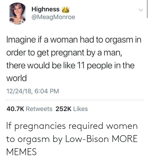 bison: If pregnancies required women to orgasm by Low-Bison MORE MEMES