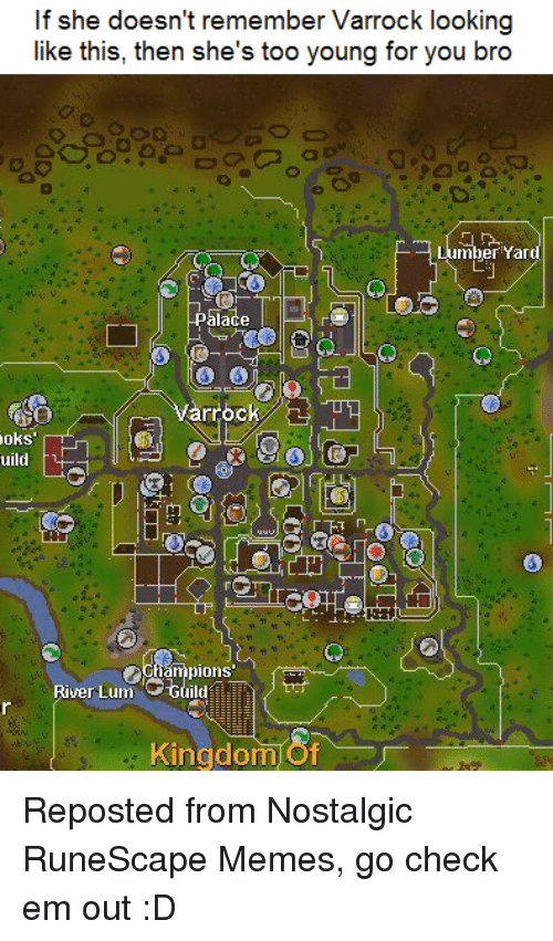 Memes, RuneScape, and 🤖: If she doesn't remember Varrock looking  like this, then she's too young for you bro  mber  Yard  palace  varrock B  oks  uild  pions  River Lum Guild  Kingdom Reposted from Nostalgic RuneScape Memes, go check em out :D