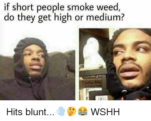 Memes, Weed, and Wshh: if short people smoke weed,  do they get high or medium? Hits blunt...💨🤔😂 WSHH