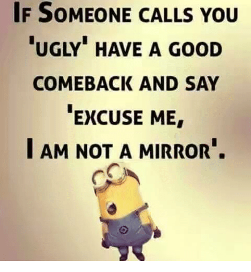 """Good Comeback: IF SOMEONE CALLS YOU  UGLY"""" HAVE A GooD  COMEBACK AND SAY  EXCUSE ME  I AM NOT A MIRROR."""