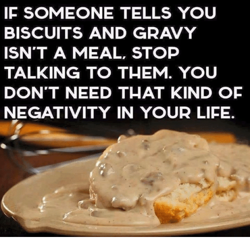 memes and gravy if someone tells you biscuits and gravy isnt a meal stop talking to them you dont need that kind of negativity in your life - Brisket And Gravy Cutthroat Kitchen