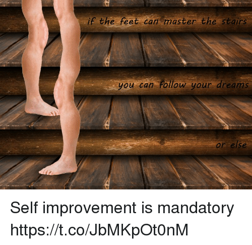 Follow Your Dreams: if the feet can master the stairs  you can Follow your dreams  or else Self improvement is mandatory https://t.co/JbMKpOt0nM
