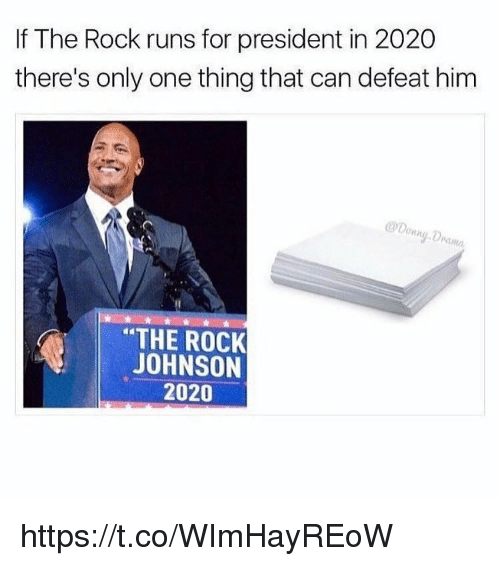 Memes, The Rock, and Only One: If The Rock runs for president in 2020  there's only one thing that can defeat him  THE ROCK  JOHNSON  2020 https://t.co/WImHayREoW