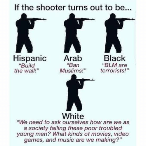 "build-the-wall: If the shooter turns out to be...  Hispanic Arab  Black  ""Ban  ""Build  the wall!""  ""BLM are  Muslims!"" errorists!  White  ""We need to ask ourselves how are we as  a society failing these poor troubled  young men? What kinds of movies, video  games, and music are we making?"""