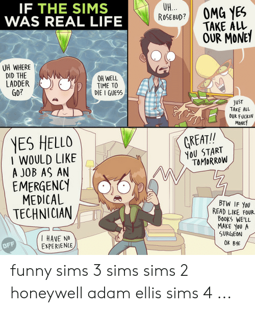 Books, Funny, and Hello: IF THE SIMS  WAS REAL LIFE  UH...  ROSEBUD?  OMG YES  TAKE ALL  OUR MONEY  UH WHERE  DID THE  LADDER  GO?  OH WELL  TIME TO  DIE I GUESS  JUST  TAKE ALL  OUR FUCKIN  MONE  YES HELLO  I WOULD LIKE  A JOB AS AN  EMERGENCY  MEDICAL  TECHNICIAN  GREAT!!  YOU START  TOMORROW  BTW IF YOU  READ LIKE FOUR  BooKs WE'LL  MAKE YOU A  SURGEON  I HAVE N  EXPERIENCE  BFF  OK BHE funny sims 3 sims sims 2 honeywell adam ellis sims 4 ...