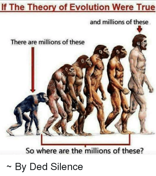 Memes, Evolution, and Silence: If The Theory of Evolution Were True  and millions of these  There are millions of these  So where are the millions of these? ~ By Ded Silence