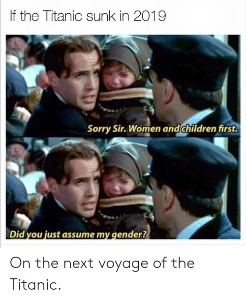 Did You Just Assume: If the Titanic sunk in 2019  Sorry Sir. Women and children first.  Did you just assume my gender? On the next voyage of the Titanic.