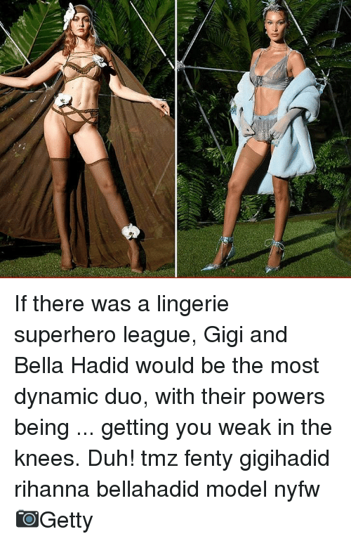 gigi: If there was a lingerie superhero league, Gigi and Bella Hadid would be the most dynamic duo, with their powers being ... getting you weak in the knees. Duh! tmz fenty gigihadid rihanna bellahadid model nyfw 📷Getty
