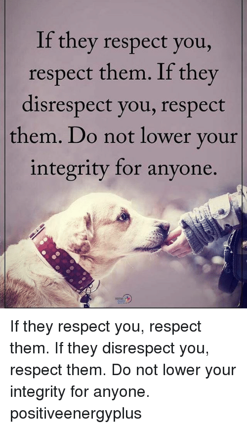Memes, 🤖, and Integral: If they respect you,  respect them. If they  disrespect you, respect  them. Do not lower your  integrity for anyone If they respect you, respect them. If they disrespect you, respect them. Do not lower your integrity for anyone. positiveenergyplus