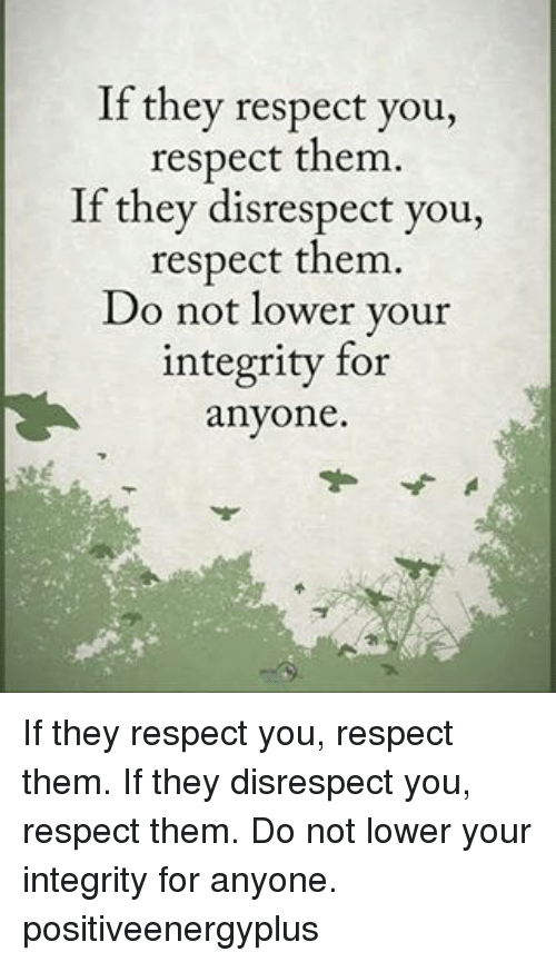 Memes, Respect, and Integrity: If they respect you,  respect them.  If they disrespect you,  respect them.  Do not lower your  integrity for  anyone. If they respect you, respect them. If they disrespect you, respect them. Do not lower your integrity for anyone. positiveenergyplus