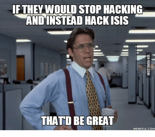Thatd Be Great Meme: IF THEY WOULD STOP HACKING  AND INSTEAD HACK ISIS  THATD BE GREAT  MEME FUL.COM