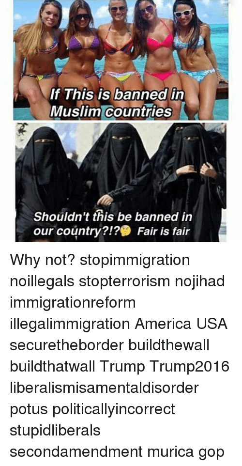 America, Memes, and Muslim: If This is banned i  Muslim countries  Shouldn't this be banned in  our country?!? Fair is fair Why not? stopimmigration noillegals stopterrorism nojihad immigrationreform illegalimmigration America USA securetheborder buildthewall buildthatwall Trump Trump2016 liberalismisamentaldisorder potus politicallyincorrect stupidliberals secondamendment murica gop
